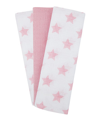 Mothercare Pink Star Muslins - 3 Pack
