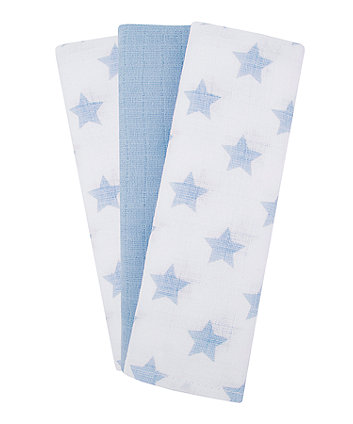 Mothercare Blue Star Muslins - 3 Pack