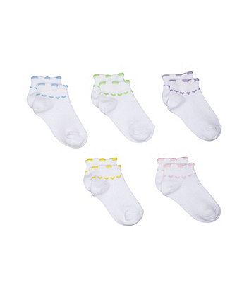 Mothercare White Heart Trainer Socks - 5 Pack