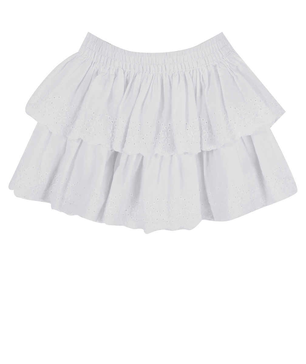 Vintage Broderie tiered skirt  white