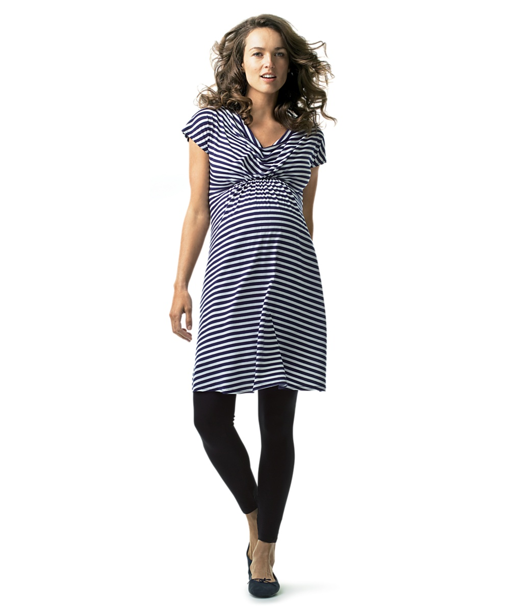 Striped Tunic Dress with Angel Sleeves