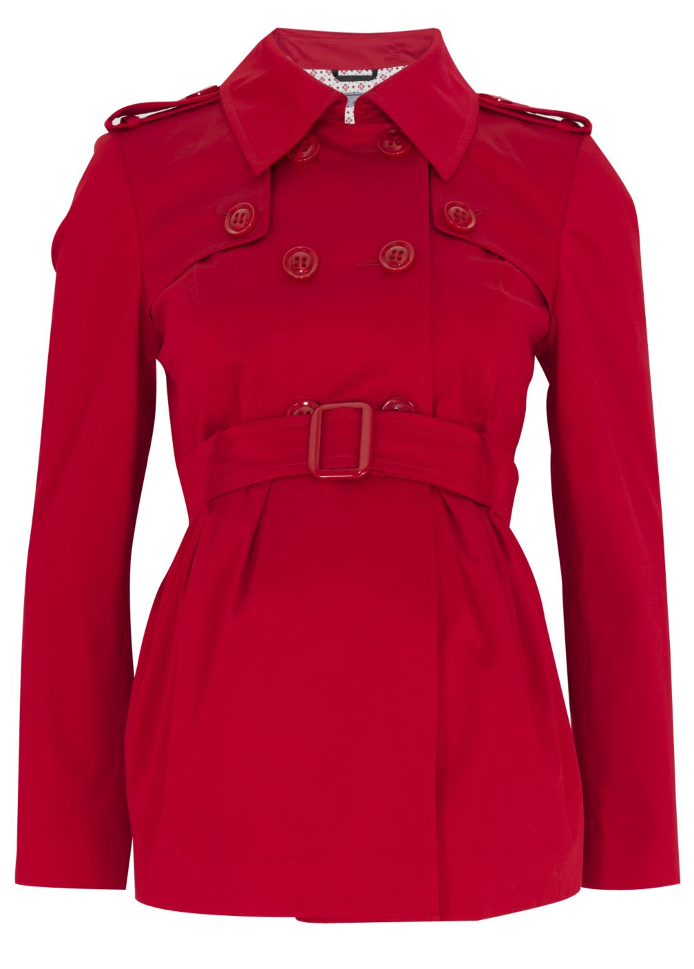Poppy Red Cotton Twill Trench Coat