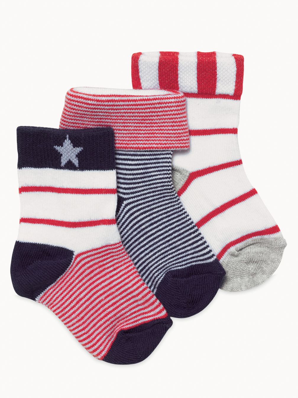 3 pack newborn red and white socks