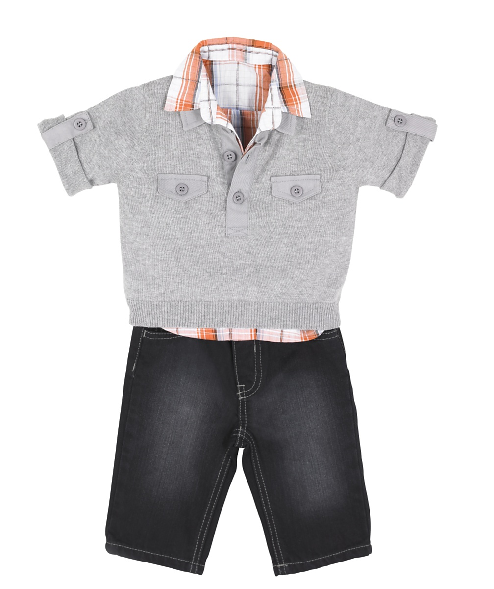 Grey Knit Polo Shirt and Black Jeans Set