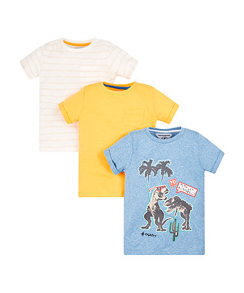 Mothercare Colourful Dinosaur T-Shirts - 3 Pack