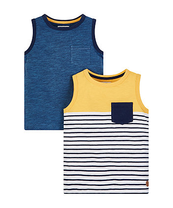 Mothercare Blue And Yellow Stripe Vests - 2 Pack