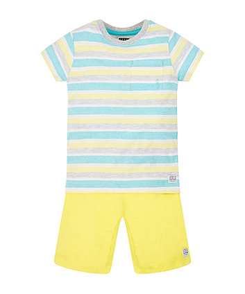 Blue And Grey Striped T-Shirt And Shorts Set