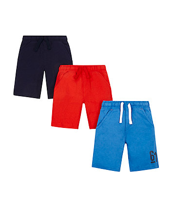 Navy Red And Blue Shorts - 3 Pack