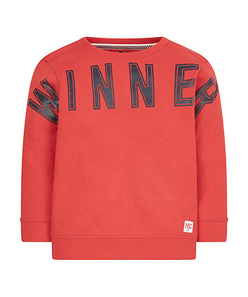 Red Winner Sweat Top