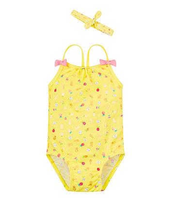Yellow Pineapple Swimsuit And Headband Set