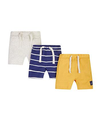 Grey Marl, Navy And Yellow Shorts - 3 Pack