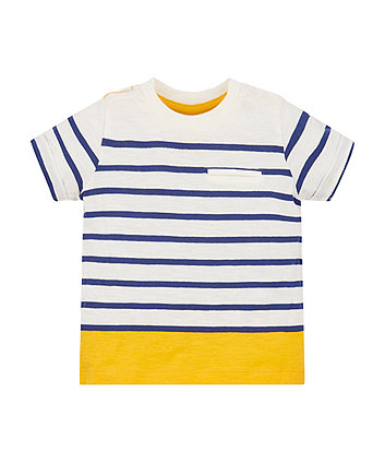 Navy, Yellow And White Stripe Pocket T-Shirt