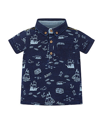 Blue Printed Jersey Polo Shirt