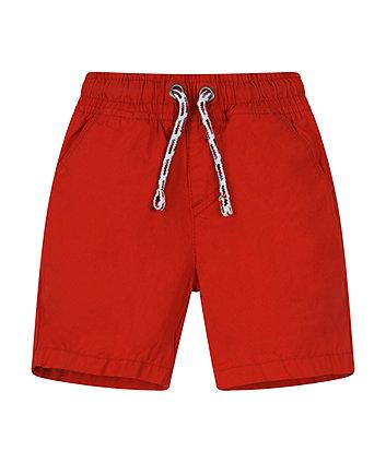 Red Poplin Shorts