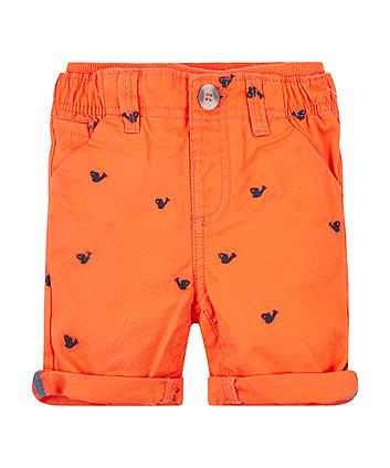 Orange Twill Chino Shorts
