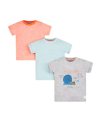 Mothercare My Pet Snail Marl T-Shirts - 3 Pack
