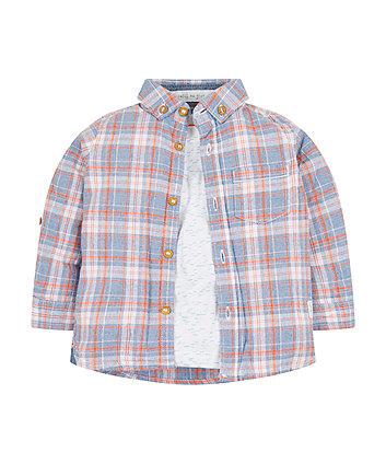 Mothercare White T-Shirt And Check Shirt Set