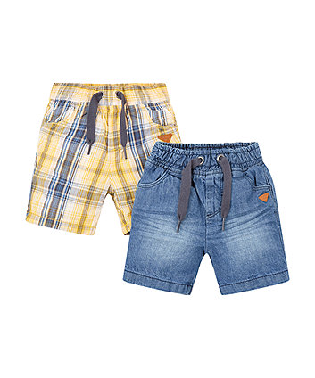 Mothercare Denim And Yellow Shorts - 2 Pack