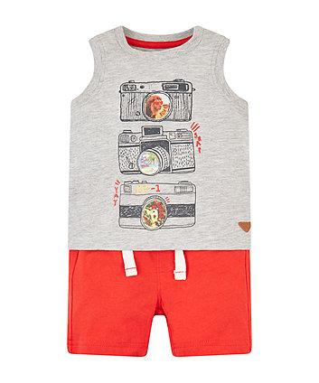 Grey Marl Camera Vest And Red Shorts Set