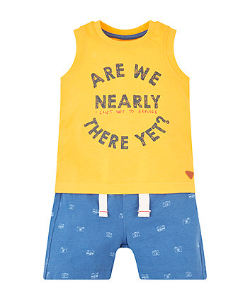 Mothercare Yellow Can'T Wait To Explore Vest And Shorts Set