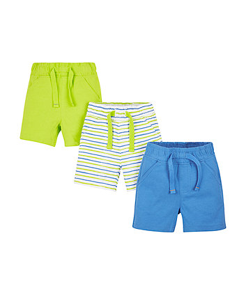 Blue And Lime Shorts - 3 Pack