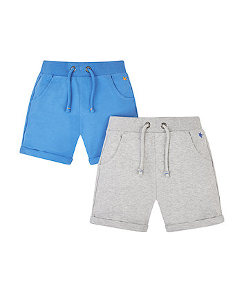 Grey Marl And Blue Shorts - 2 Pack