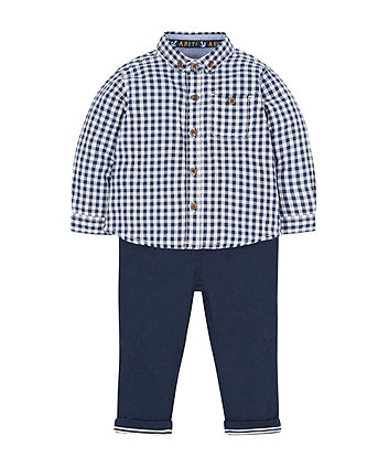 Blue Gingham Shirt And Trousers Set