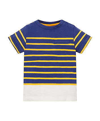 Navy And Yellow Stripe Pocket T-Shirt