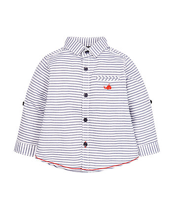 Navy And White Stripe Oxford Shirt