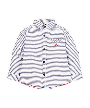 Navy And White Stripe Oxford Shirt