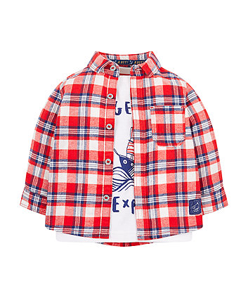 Check Flannel Shirt And T-Shirt Set