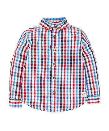 Mothercare Blue, Red And White Check Shirt