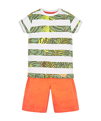 Mothercare White Print Stripe T-Shirt And Orange Shorts Set