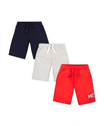 Mothercare Grey, Navy And Red Shorts - 3 Pack