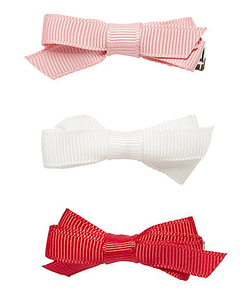 Pink, White And Red Bow Clips - 3 Pack
