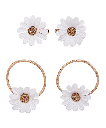 Daisy Clips And Hair Ties - 4 Pack