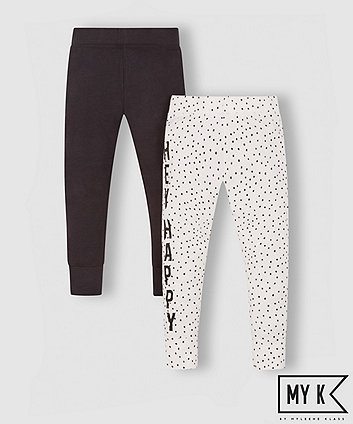 my k white printed and black leggings - 2 pack