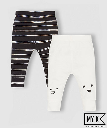 my k stripe and faces leggings - 2 pack