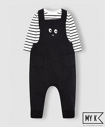 my k face dungarees with striped bodysuit
