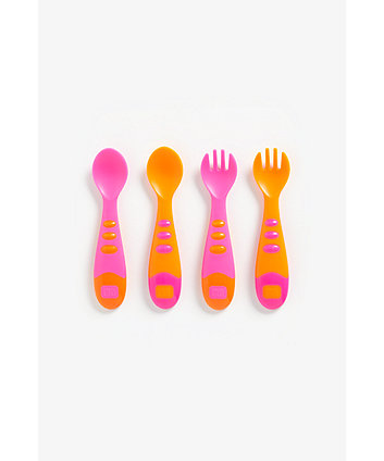 Mothercare Easy Grip Spoon And Fork Set - 4 Pieces (Pink)