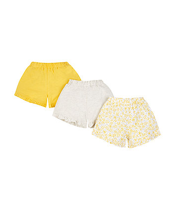 Mothercare Yellow And Grey Frill Hem Shorts - 3 Pack