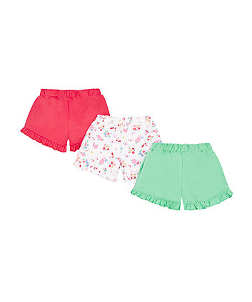 Red, Green And Floral Frill Hem Shorts - 3 Pack