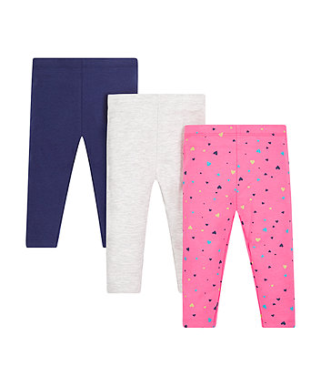 Mothercare Pink Heart Leggings - 3 Pack