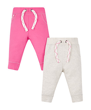 Mothercare Grey And Pink Joggers - 2 Pack
