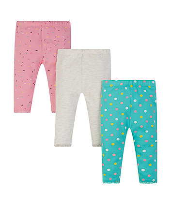Grey, Confetti And Spot Leggings - 3 Pack