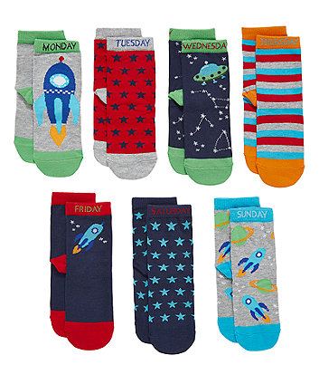 Mothercare Space Days Of The Week Socks - 7 Pack