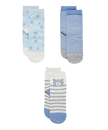 Mothercare My First Teddy, Star And Stripe Socks - 3 Pack