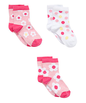 Mothercare Pink Daisy Socks - 3 Pack
