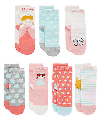 GIRLS 7PK DOTW SOCKS