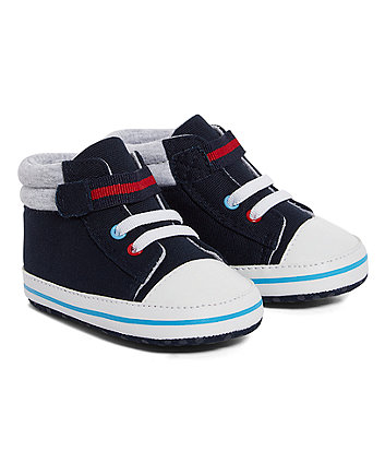 navy hi-top pram shoes